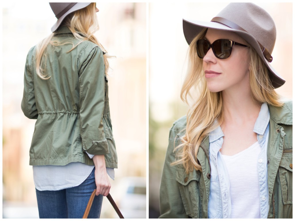 H&M gray fedora, J Crew olive green utility jacket, Stila Baci nude pink lipcolor
