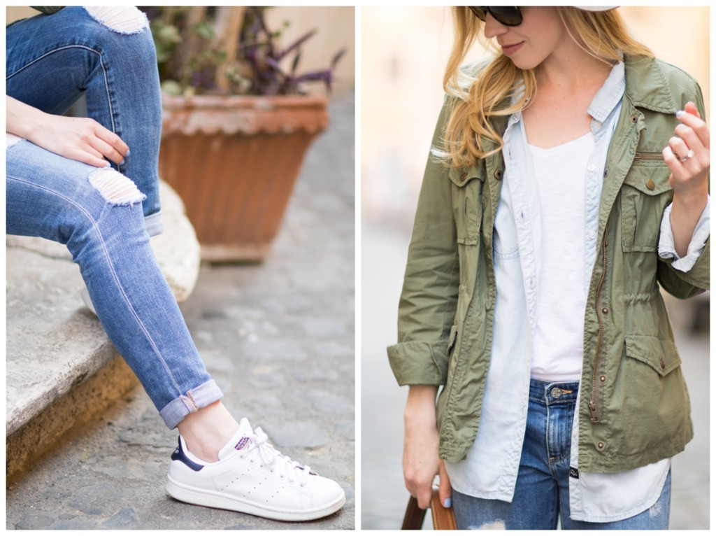 J Crew olive utility jacket worn over chambray denim shirt and white v neck tee, distressed jeans with Adidas Stan Smith sneakers