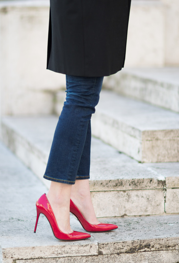 Stuart Weitzman red pointy toe pumps, Nouveau patent pump, red pumps with crop flare jeans