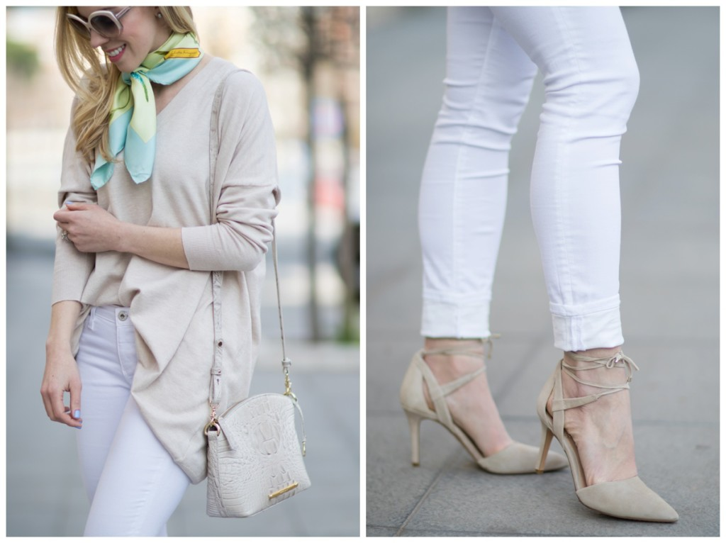 6db91eb7402462 Vince Camuto Bellamy gray lace up suede pumps, white jeans with lace up  heels, oversized beige sweater with silk neck tie scarf outfit