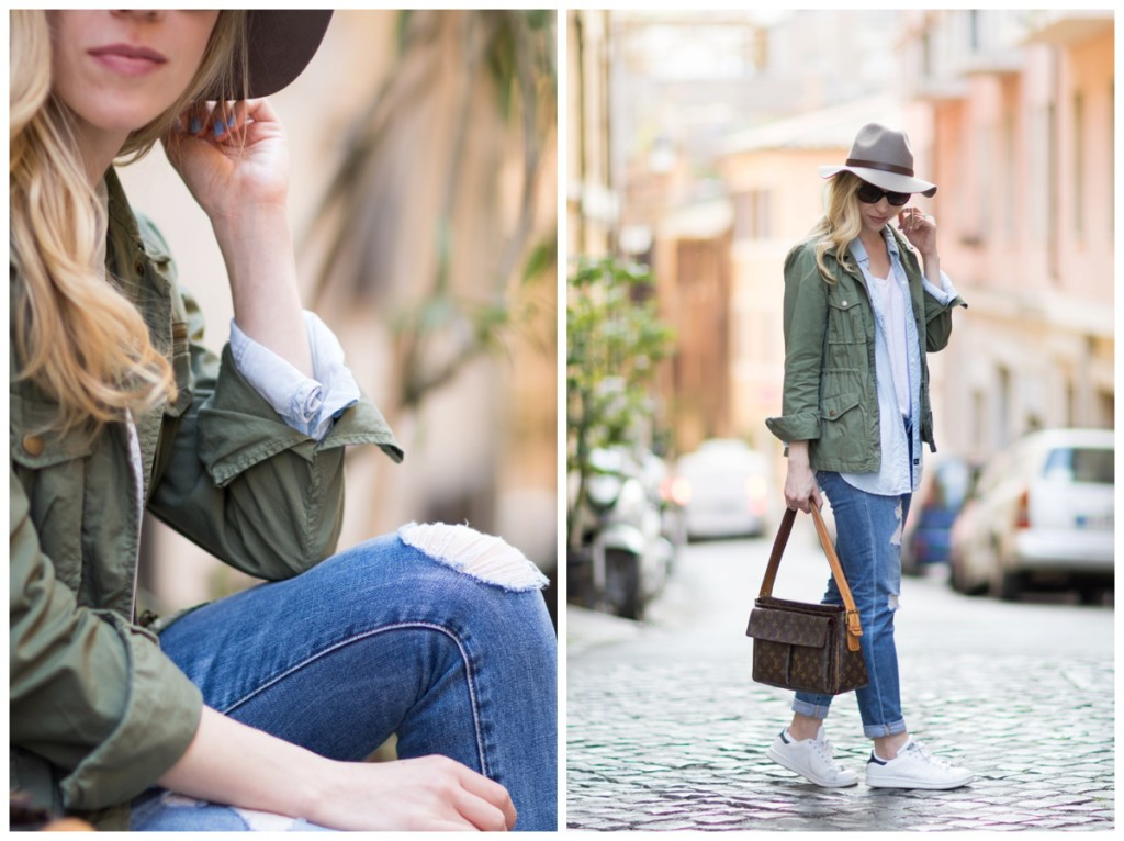 how to layer with a utility jacket, olive green jacket with chambray shirt and white tee, distressed denim, Adidas Stan Smith sneakers