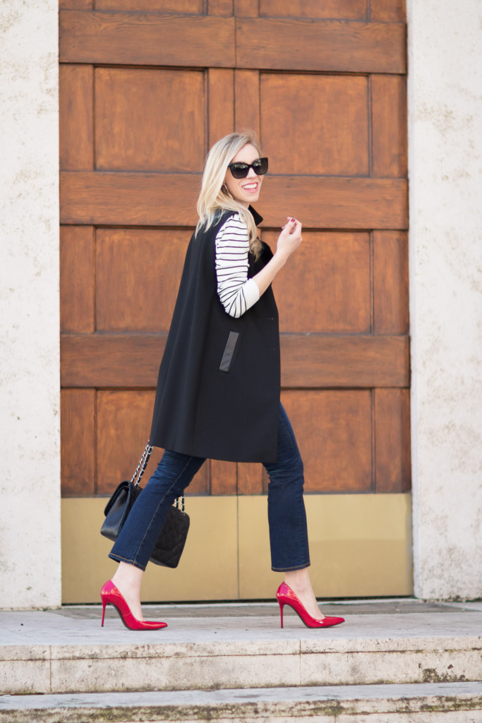 how to wear long black vest, how to wear kick crop jeans, Stuart Weitzman Nouveau red pump, red heels black and white outfit