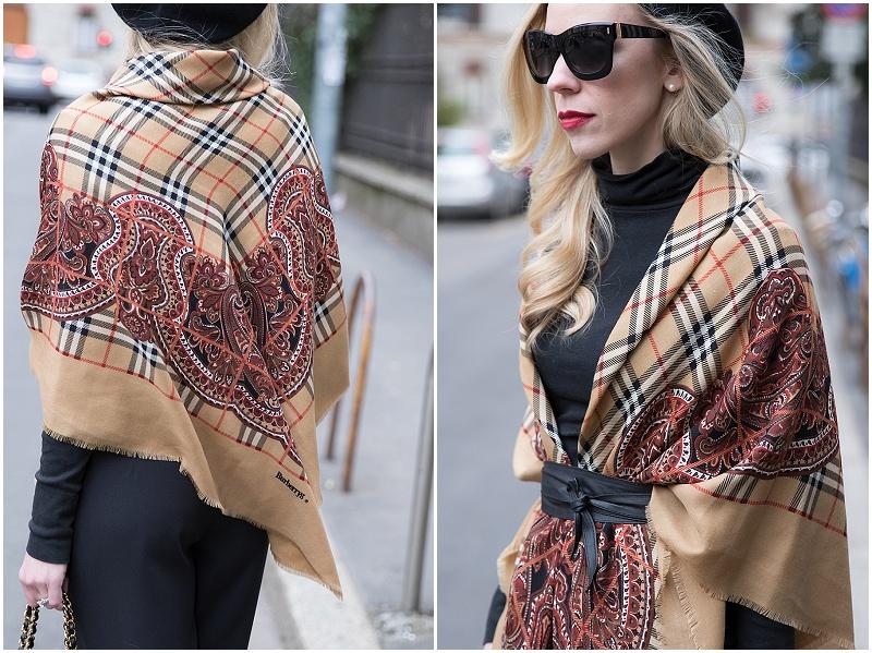 how to wear vintage Burberry scarf, vintage Burberry wool shawl plaid with paisley border, Escada black sunglasses, Milan Fashion Week AW16