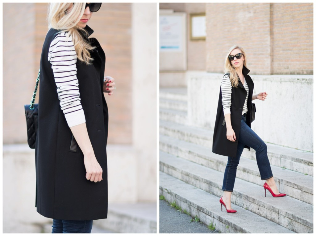 long black vest outfit with crop flare jeans, how to wear crop flare jeans, red pointy toe pumps with black and white top