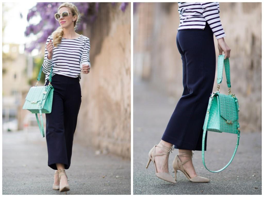 Dreamy Stripes Boatneck Tee Wide Leg Culottes Amp Mint Handbag Meagan S Moda