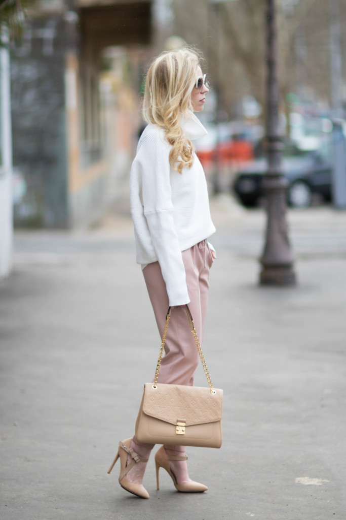 blush  u0026 bows  cowlneck sweater  pink pants  u0026 nude pumps