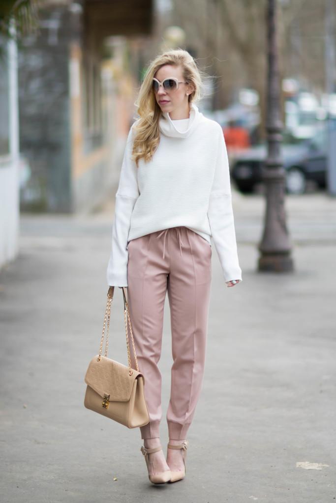 { Blush u0026 Bows Cowlneck sweater Pink pants u0026 Nude pumps } - Meaganu0026#39;s Moda