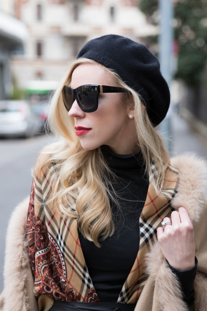 red lip and beret, Estee Lauder Irrepressible, Escada sunglasses, vintage Burberry wool shawl with paisley print border