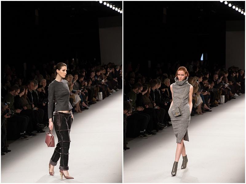 shearling pants, knit turtleneck sweater dress, Aigner Munich, Milan Fashion Week AW16