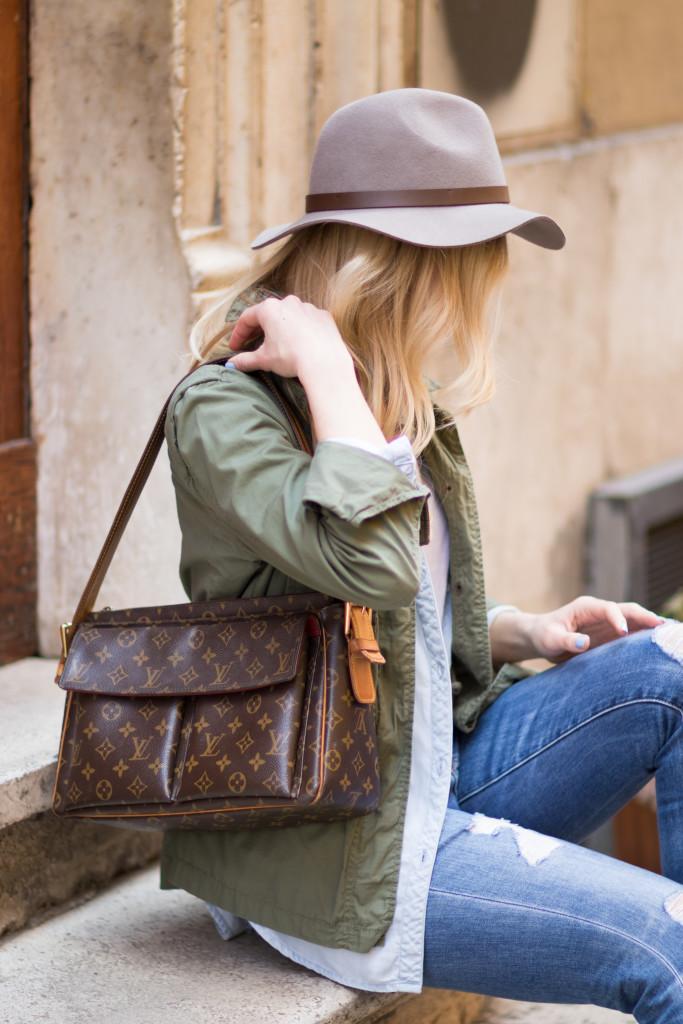 utility jacket with chambray denim shirt, H&M gray fedora, Louis Vuitton vintage monogram Passy bag