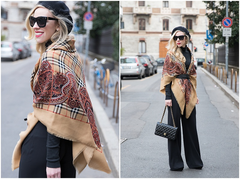 vintage Burberry shawl with wrap belt, how to wear an oversized scarf with a wrap belt, Milan Fashion Week AW16 street style
