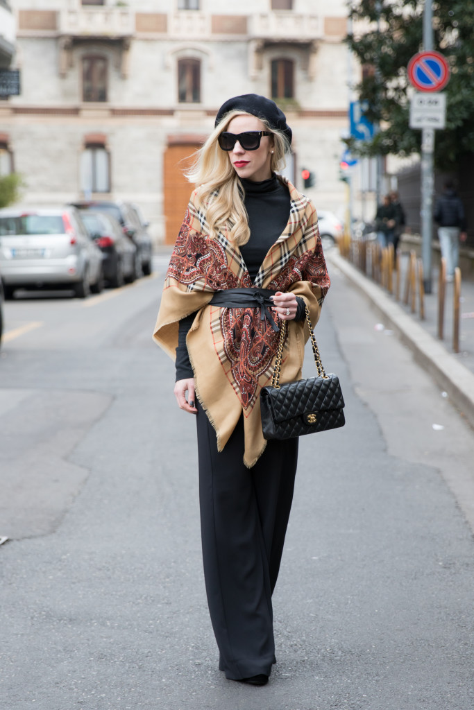 vintage Burberry wool shawl, Chanel medium classic flap bag black with gold hardware, how to wear leather Obi wrap belt, Milan Fashion Week AW16 street style