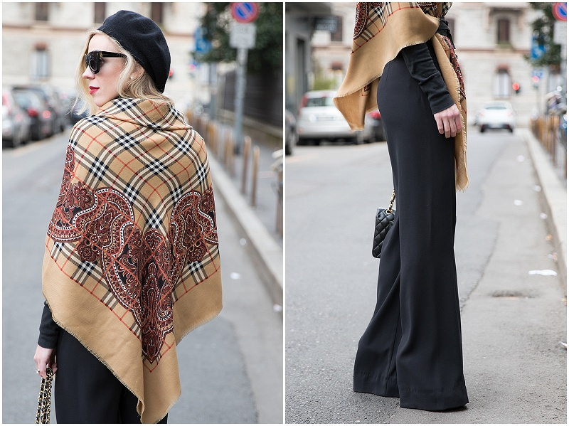 vintage Burberry wool shawl, wide leg black pants with poncho wrap, Milan Fashion Week AW16 street style