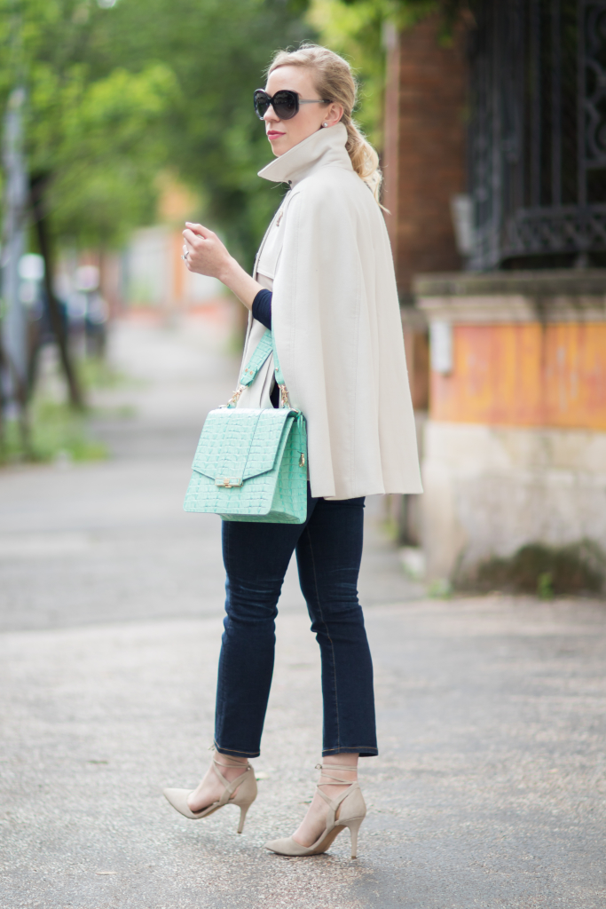 Ann Taylor trench cape, AG Jeans Jodi crop flare jeans, Brahmin mint green handbag, crop flare jeans with lace up heels, trench cape outfit
