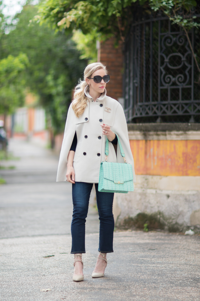 Ann Taylor trench cape, cropped flare jeans, AG Jeans Jodi crop flare, Brahmin mint green handbag, how to wear a trench cape