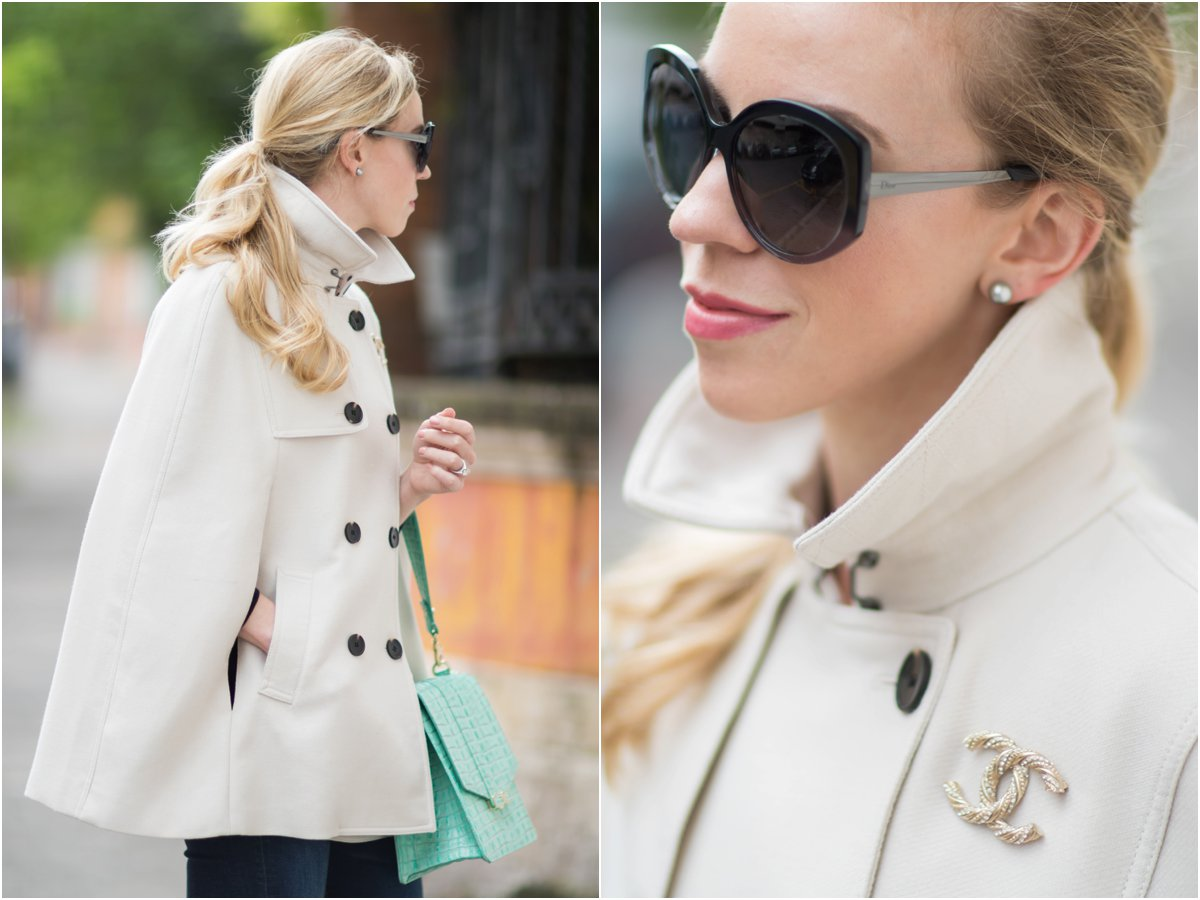 Ann Taylor trench cape, trench coat with Chanel pin, Dior Extase oversized sunglasses, how to wear a trench cape