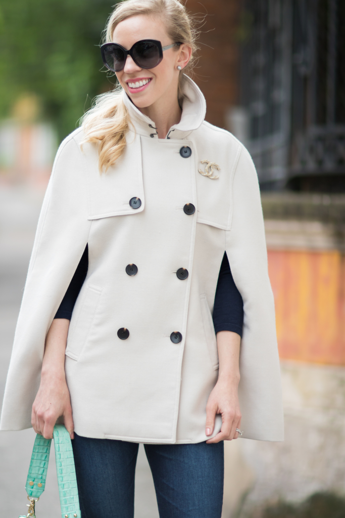 Ann Taylor trench cape with gold Chanel brooch pin, how to wear a trench cape for spring