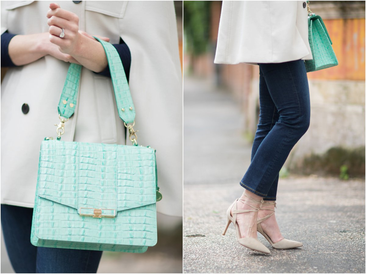 Brahmin mint green la scala Ophelia bag, Vince Camuto Bellamy gray lace up pumps, crop flare jeans with lace up heels outfit