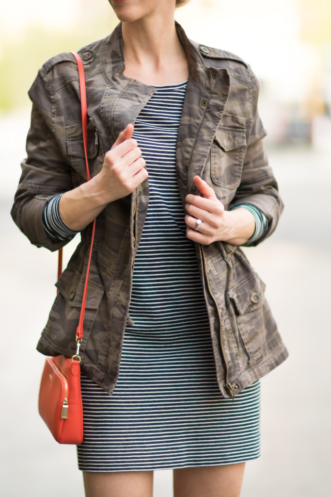 Express camo jacket over navy striped tee shirt dress, orange handbag summer outfit, how to wear camo with stripes
