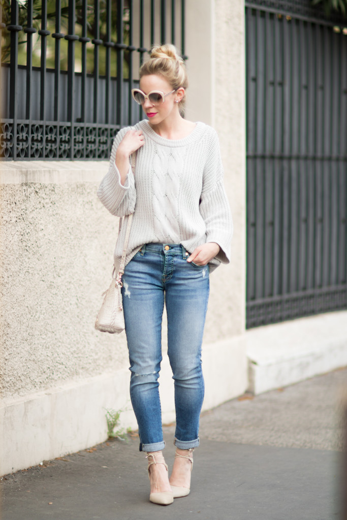 { Gray Details Cable sweater Boyfriend jeans u0026 Lace-up ...