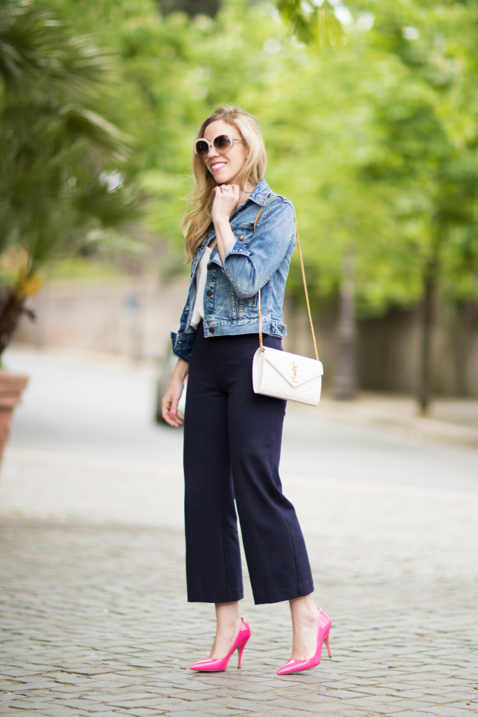 J. Crew cropped denim jacket, YSL white monogram clutch, high waist navy culottes, hot pink pointy pumps, how to wear culottes
