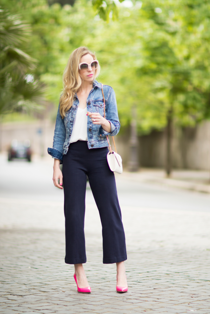 J. Crew navy high waist culottes, cropped denim jacket with culottes outfit, neon pink pointy pumps outfit