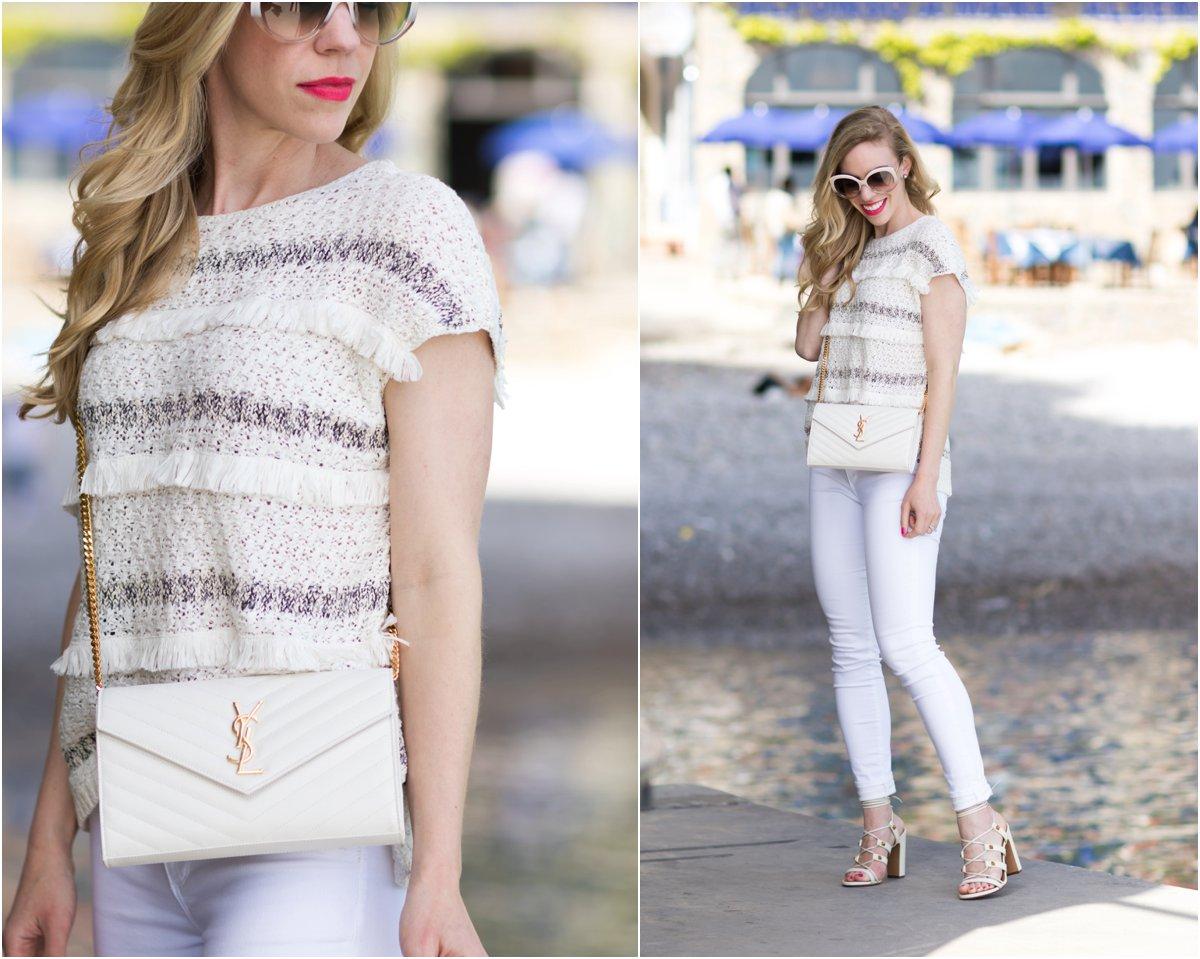 All White in Praiano: Fringe sweater, White jeans \u0026amp; Rockstud sandals }