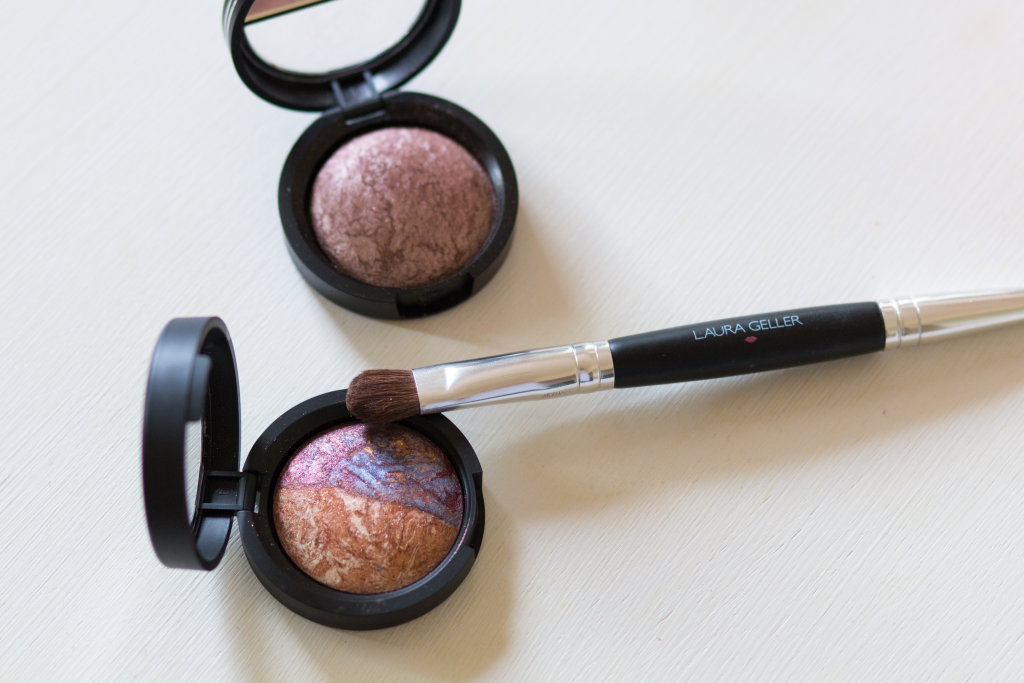 Laura Geller eyeshadow duo Rome:Milan, how to apply Laura Geller baked eyeshadow