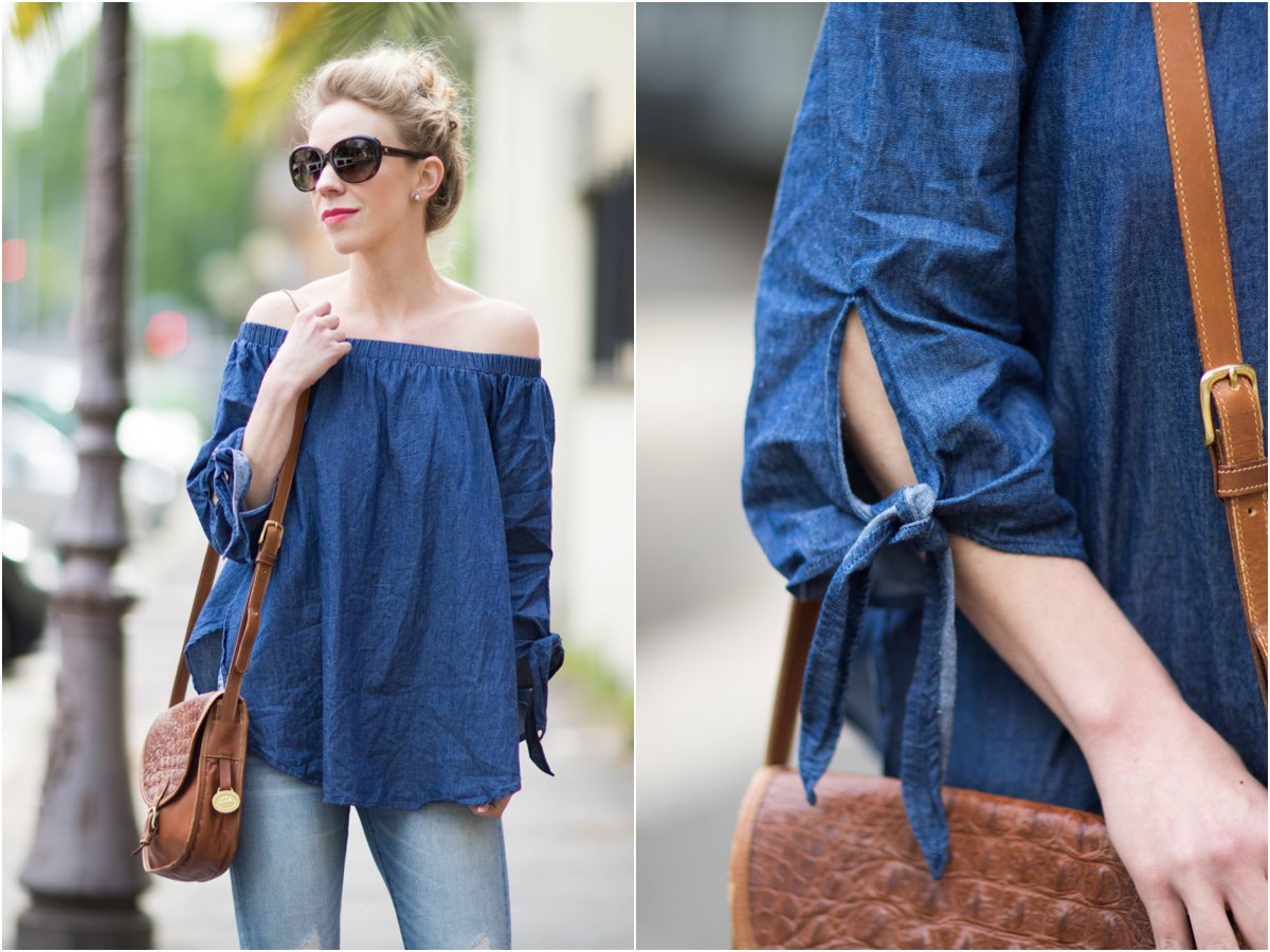 d58a3715d4c2f5 SheIn chambray denim off the shoulder blouse with tie sleeves ...