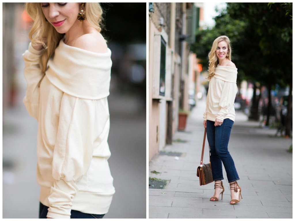 SheIn off the shoulder top with crop flare jeans, lace up sandals with crop jeans, how to wear off the shoulder top for spring