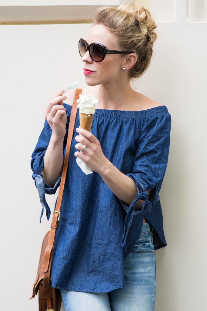 e0d17360ba8604 blue chambray off the shoulder blouse with tie sleeves, how to wear off the shoulder  tops