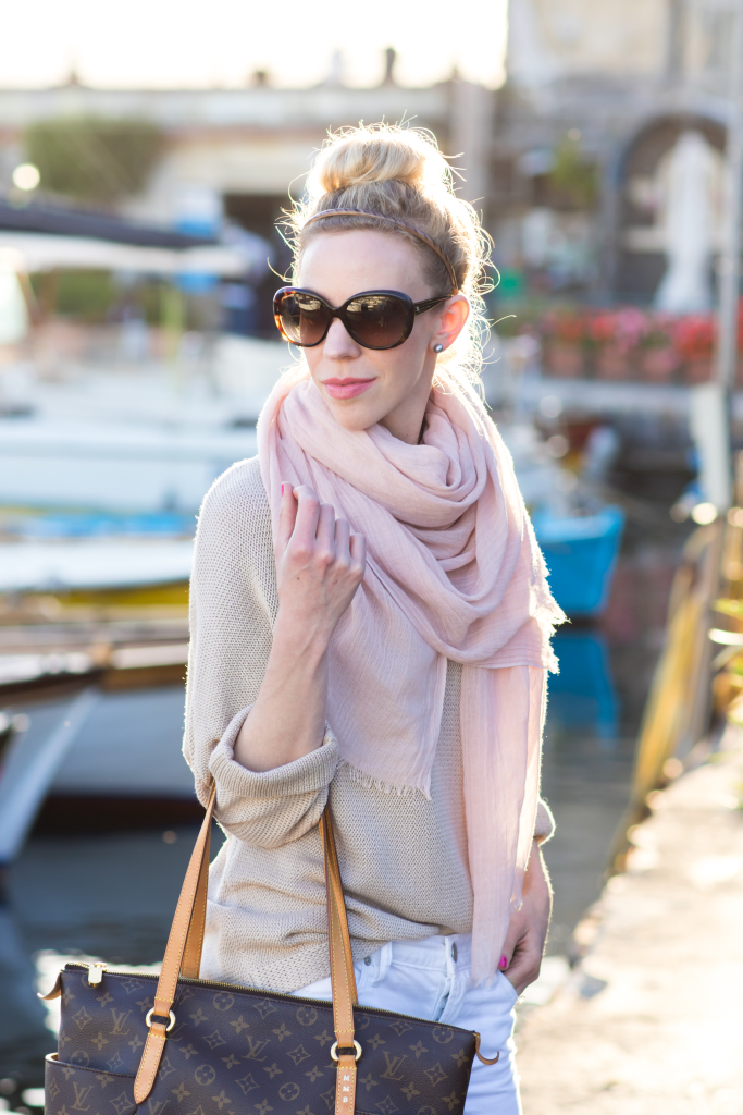 blush pink scarf with beige tan sweater and white jeans, Chanel oversized tortoiseshell sunglasses, Bare Minerals 'Speak Your Mind' pink lipstick