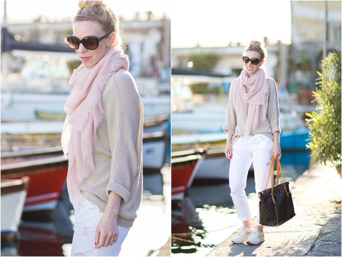 blush pink scarf with tan sweater and white jeans outfit, gold and white New Balance sneakers, how to wear pink scarf for spring