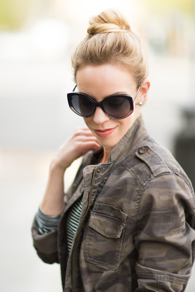 camo jacket, how to wear camo for spring, Dior Extase oversized gray sunglasses, Bare Minerals 'Make Your Move' moxie lipstick