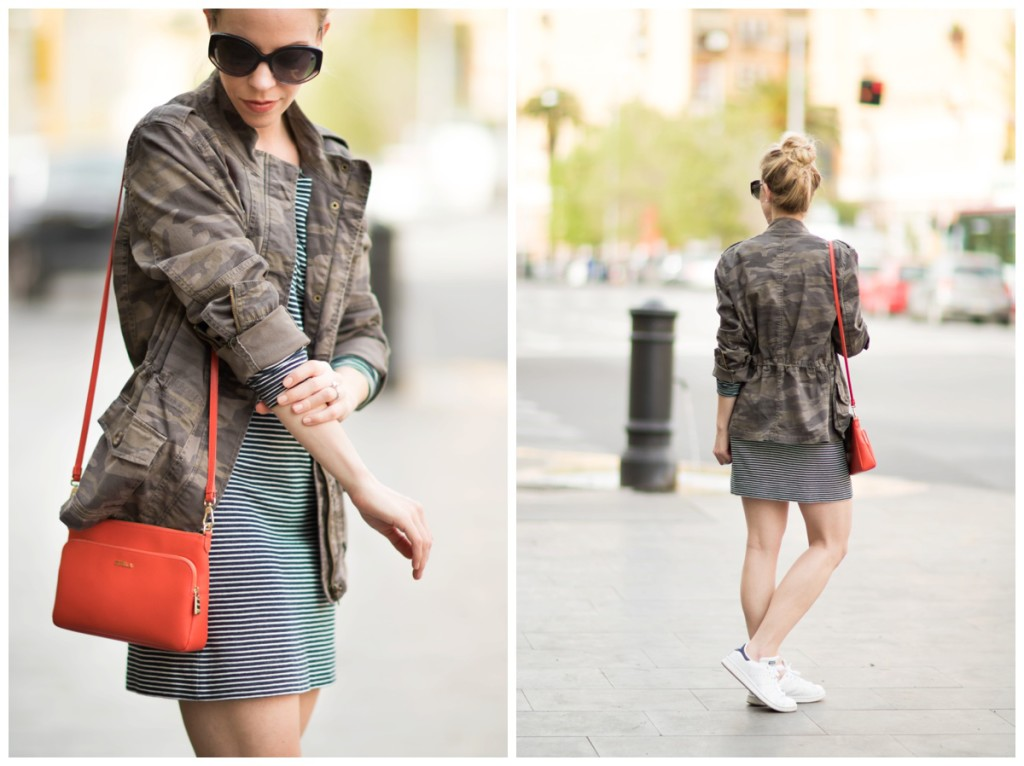 camo jacket over striped dress spring outfit, striped dress with Adidas Stan Smith sneakers, how to wear camo feminine style