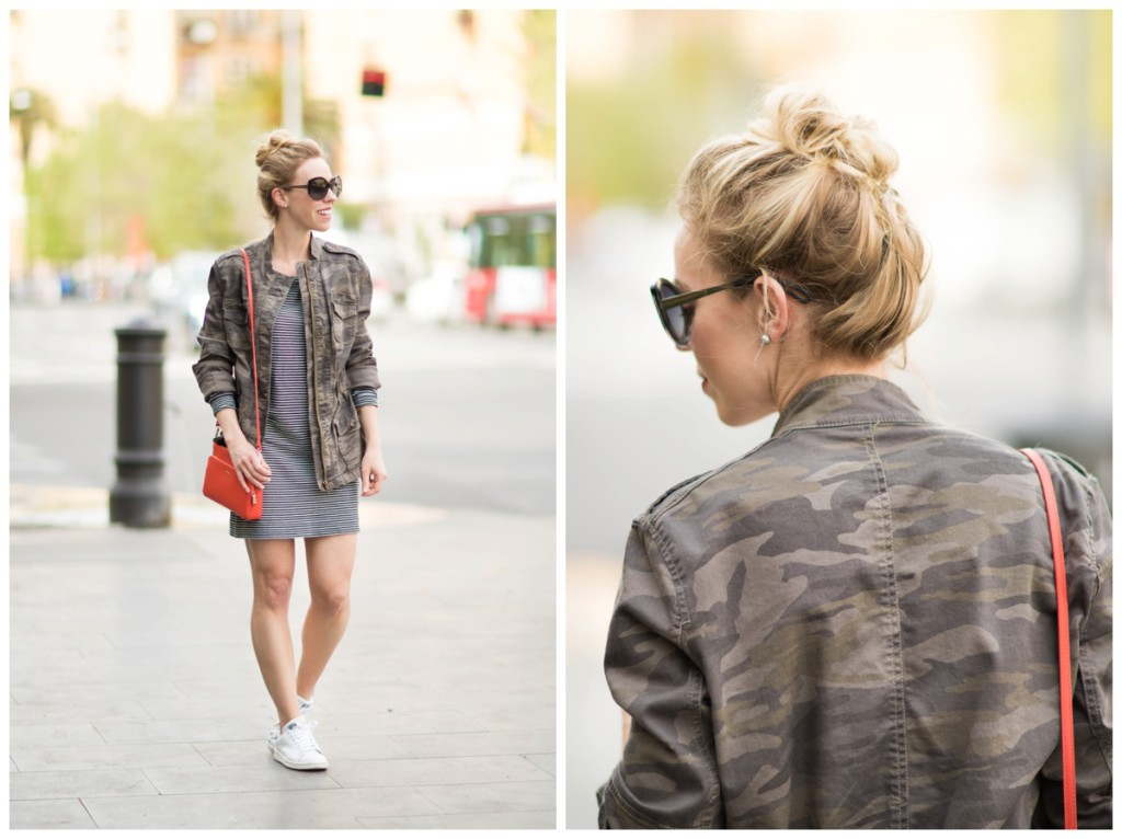 camo jacket with navy striped dress and sneakers, how to wear camo jacket for spring, pattern mixing with camo print, stripes and camo outfit