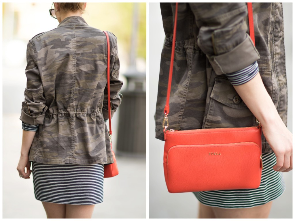 camo jacket with striped dress, how to wear camo print for spring, Furla hibiscus orange crossbody bag