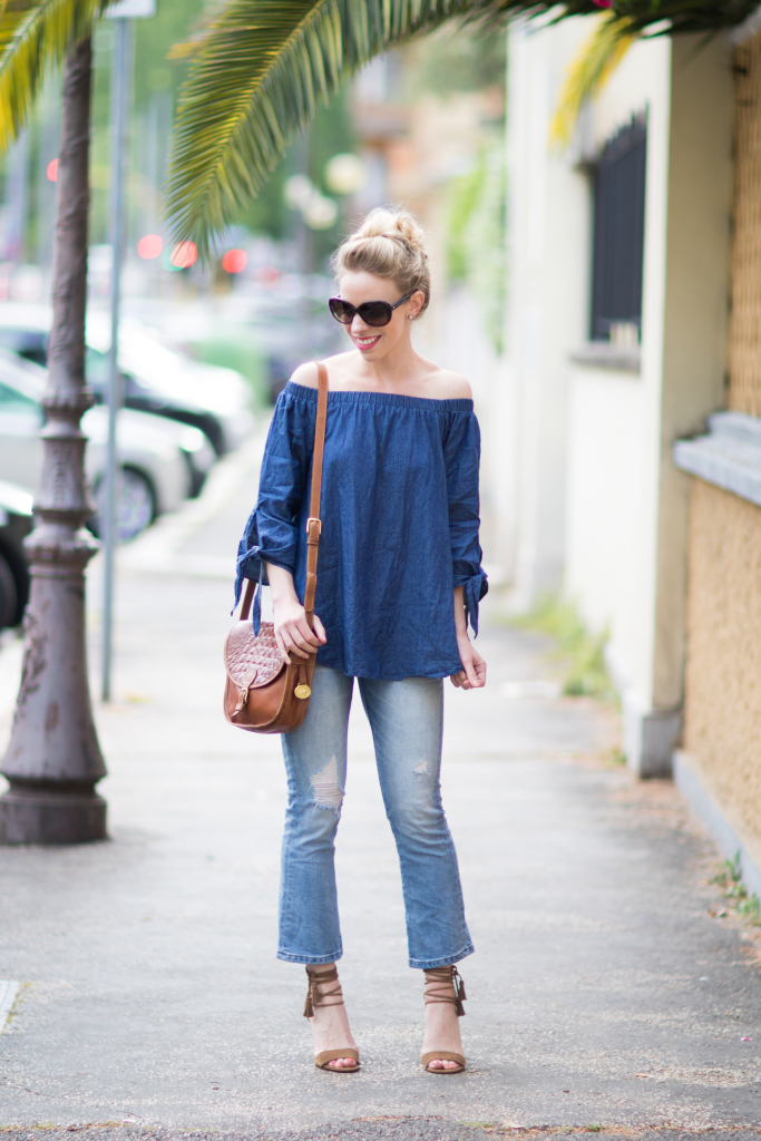 chambray denim off the shoulder top, BLANK NYC micro flare crop jeans, crop flare jeans with lace up sandals outfit