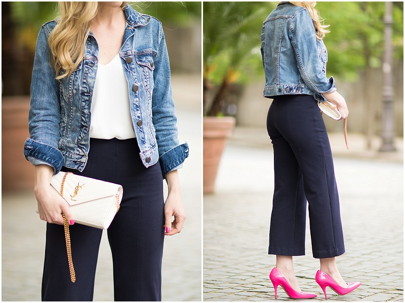 pink pumps outfit, how to add neon to an outfit, YSL white monogram clutch, cropped denim jacket with high waist culottes