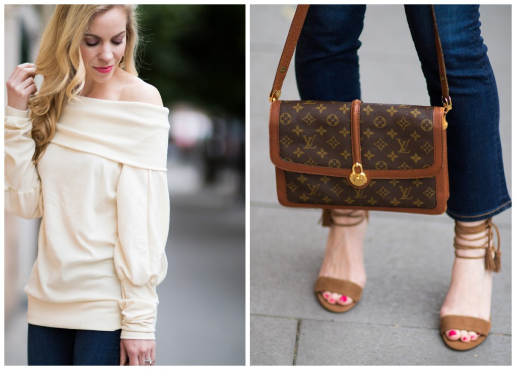 vintage Louis Vuitton Passy bag, Ann Taylor lace up tassel sandals, off the shoulder top with crop flare jeans outfit