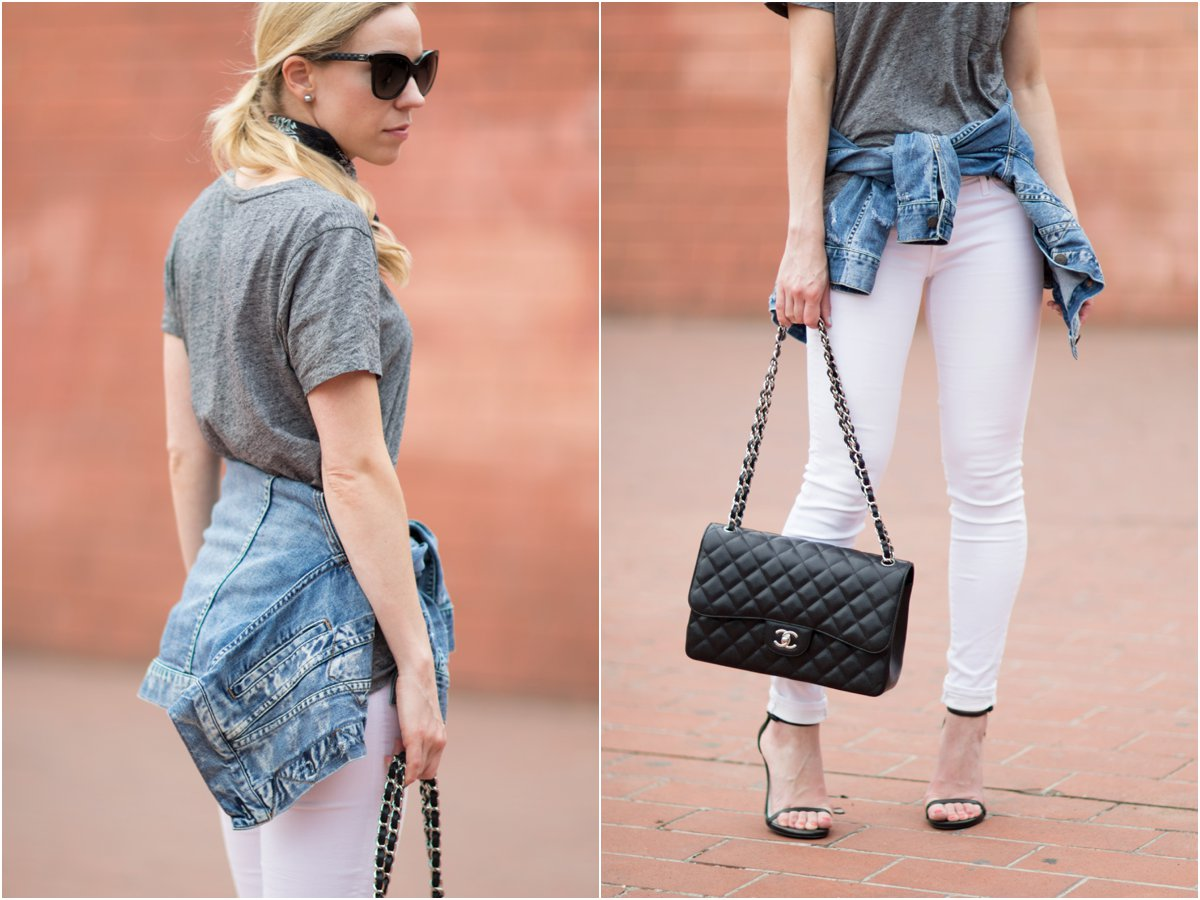 AG Jeans legging ankle white denim, Chanel jumbo classic flap bag black caviar silver hardware, denim jacket tied around waist outfit with Chanel bag