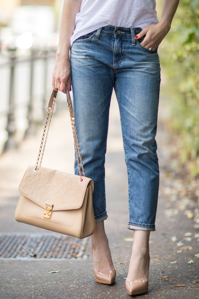 AG Jeans the Drew boyfriend jean, white tee with boyfriend jeans and nude Louboutin pumps, Louis Vuitton St. Germain monogram bag dune leather
