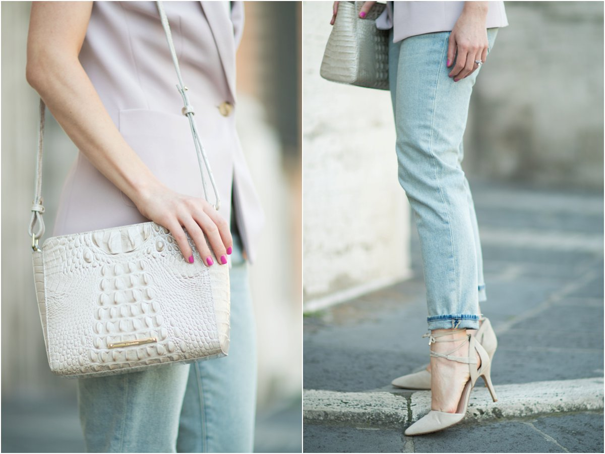 Brahmin 'Carrie' crossbody bag linen Melbourne, VInce Camuto 'Bellamy' gray lace up pumps, J. Brand straight leg crop jeans
