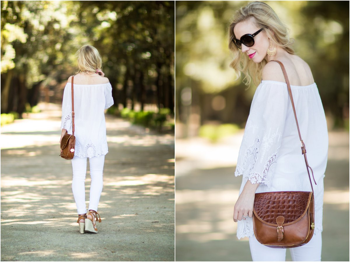 Brahmin vintage cognac tan saddlebag, white eyelet lace off the shoulder top with white jeans, how to wear all white outfit for summer