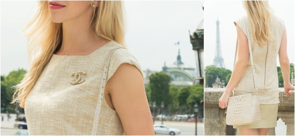 Chanel gold and crystal brooch pin, how to wear tweed, Brahmin 'Carrie' crossbody bag Linen Melbourne, tweed dress outfit