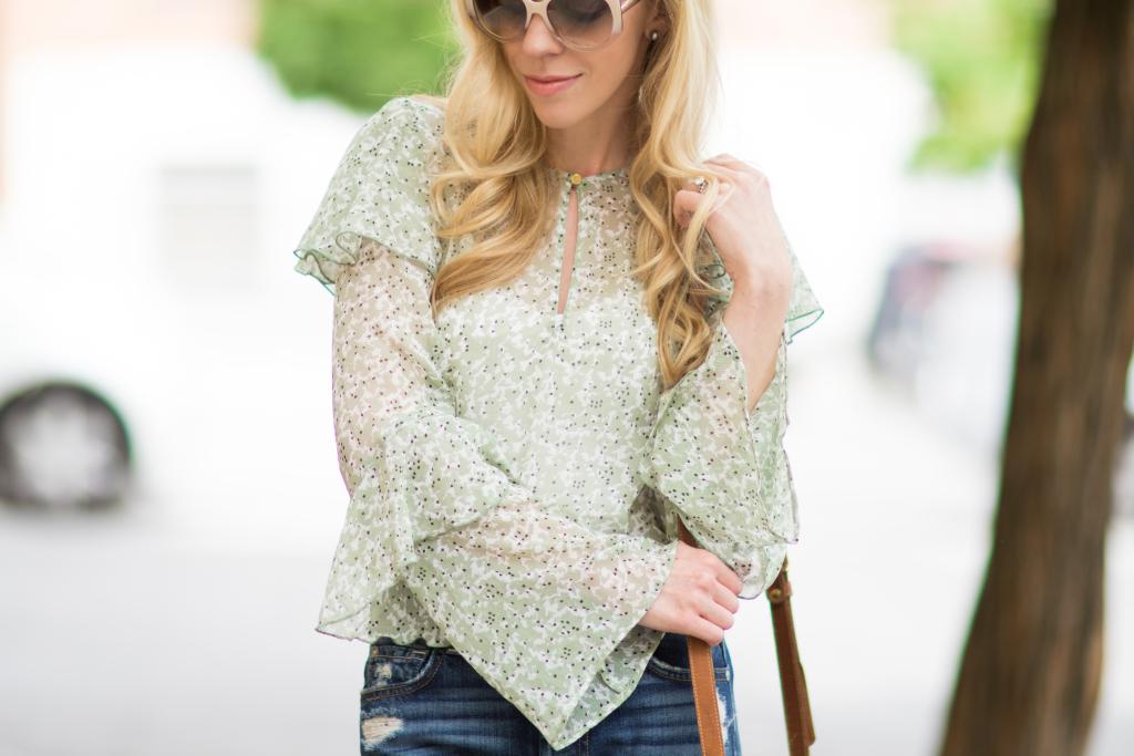 Clinique Melon pop peach lipstick, Dior Extase oversized beige sunglasses, H&M mint floral ruffle sleeve blouse