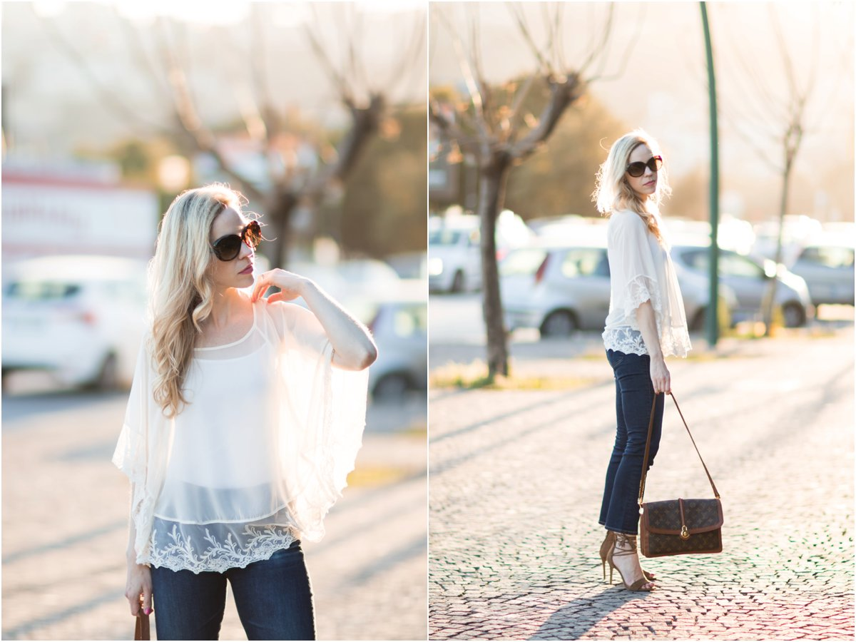Express lace poncho, AG Jeans Jodi Crop flare jeans, Louis Vuitton vintage turnlock bag, how to wear cropped flare jeans