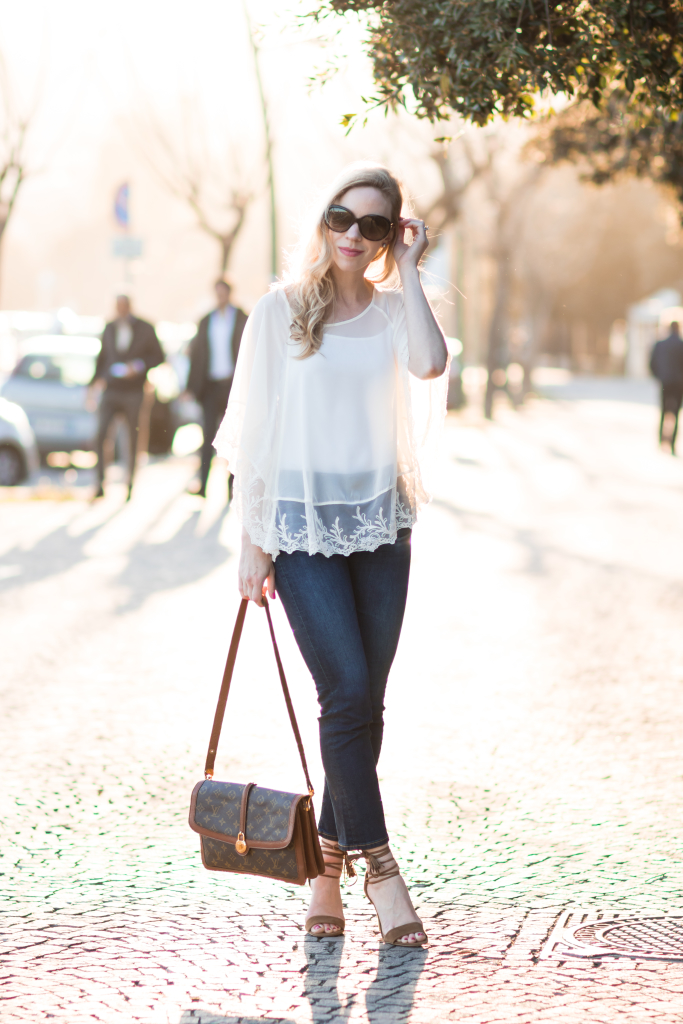 Express lace poncho, AG Jeans Jodi Crop flare jeans, vintage Louis Vuitton turnlock bag, how to wear cropped flare jeans
