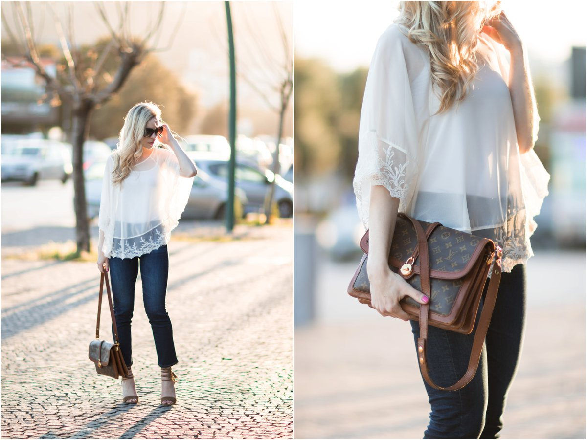 Express lace poncho, vintage Louis Vuitton Passy bag, lace poncho with crop flare jeans, Ann Taylor suede lace up brown sandals