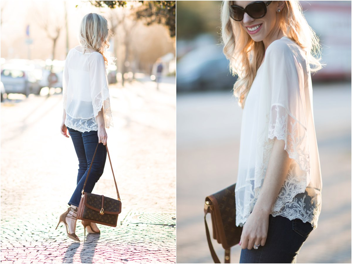 Express lace poncho, vintage Louis Vuitton Passy bag, lace poncho with cropped flare jeans, how to wear kick crop flare jeans